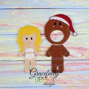 Gingerbread Outfit Dress up Outfit (OUTFIT ONLY)- to fit GGD Dress up dolls - Embroidery Design 5x7 hoop or larger