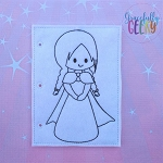 Princess 1 quiet book coloring page ITH embroidery design 5x7 hoop