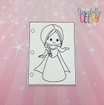Princess 4 quiet book coloring page ITH embroidery design 5x7 hoop