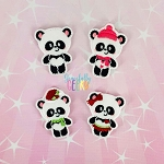 Panda Family Feltie SET ITH Embroidery Design 4x4 hoop (and larger)