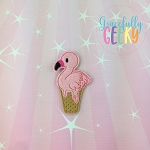 Flamingo Ice Cream  Feltie ITH Embroidery Design 4x4 hoop (and larger)