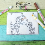 Giraffe Mom and baby quiet book coloring page ITH embroidery design 5x7 hoop