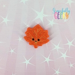 Kawaii Leaf 2 Feltie ITH Embroidery Design 4x4 hoop (and larger)