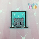 Window Cat Feltie ITH Embroidery Design 4x4 hoop (and larger)