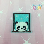 Window Panda Feltie ITH Embroidery Design 4x4 hoop (and larger)