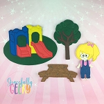 Park Play Set with Piper Dress up Doll and accessories - Embroidery Design 5x7 hoop or larger