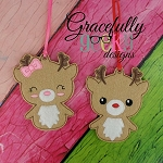 Reindeer Couple ornaments Embroidery Design 4x4 hoop and up