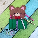 Bear Crayon Holder Embroidery Design - 5x7 Hoop or Larger