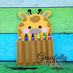 Giraffe Crayon Holder Embroidery Design - 5x7 Hoop or Larger