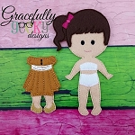 Golden Dress outfit for  Dress up Dolls (OUTFIT ONLY) - Embroidery Design 5x7 hoop or larger