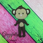 Monkey Girl Body Dress up Doll - Embroidery Design 5x7 hoop or larger