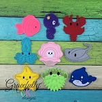 Under The Sea Finger Puppet SET   Embroidery Design - 4x4 Hoop or Larger