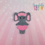 Elephant Ballerina Flat Doll (Clothes Attached) - Embroidery Design 5x7 hoop or larger