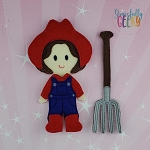 Farmer Dress up Doll and accessories - Embroidery Design 5x7 hoop or larger