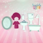 Bathroom Dress up Doll accessories - Embroidery Design 5x7 hoop or larger