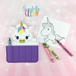 Unicorn Crayon Holder Embroidery Design - 5x7 Hoop or Larger