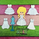 Bride Dress up Doll SET- Embroidery Design 5x7 hoop or larger
