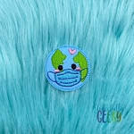 Kawaii Earth Mask Feltie ITH Embroidery Design 4x4 hoop (and larger)