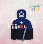 Captain Crayon Holder Embroidery Design - 5x7 Hoop or Larger