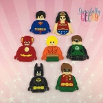 Block head 2 finger puppet set - Embroidery Design