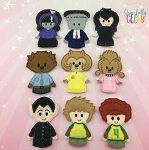 Monster Hotel finger puppet set - Embroidery Design