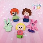 Bunny finger puppet set - Embroidery Design