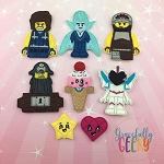Block head 3 finger puppet set - Embroidery Design