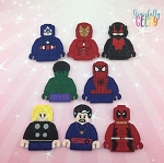 Block head finger puppet set - Embroidery Design