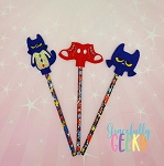 Blue Cat Pencil Topper ITH Embroidery Design 4x4 hoop (and larger)