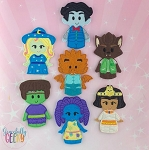 Monsters finger puppet set - Embroidery Design