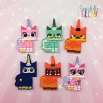 Block head Unicorn finger puppet set - Embroidery Design