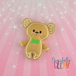 Gingerbread Bear / Mouse Boy Stuffie Embroidery Design - 5x7 Hoop or Larger