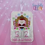 Gingerbread CC Santa Countdown to Christmas Embroidery Design