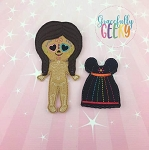 Sugarskull Girl Heart Eyes Dress up Doll and accessories - Embroidery Design 5x7 hoop or larger