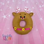 Reindeer Donut Stuffie Embroidery Design - 4x4 Hoop or Larger