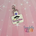 Quarantine Grad Snap Keychain ITH Embroidery Design - 5x7 Hoop or Larger