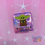 Baby Alien Sips Tea Feltie ITH Embroidery Design 4x4 hoop (and larger)