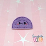 Kawaii Protractor Feltie ITH Embroidery Design 4x4 hoop (and larger)
