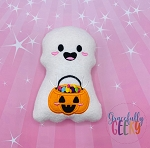 Kawaii Ghost Stuffie Embroidery Design - 5x7 Hoop or Larger