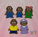 Critters finger puppet set - Embroidery Design