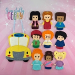 School finger puppet set - Embroidery Design