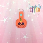 Pumpkin Sugarskull Flower Eyes Snap Keychain ITH Embroidery Design - 5x7 Hoop or Larger