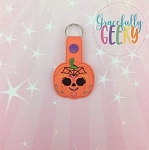 Pumpkin Sugarskull Spiderweb Snap Keychain ITH Embroidery Design - 5x7 Hoop or Larger