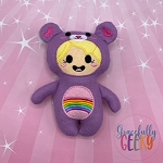 Rainbow Bear Kid Stuffie Embroidery Design - 5x7 Hoop or Larger