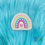 Rainbow Thin Line Feltie ITH Embroidery Design 4x4 hoop (and larger)