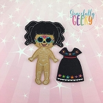 Sugarskull Girl Scallop Eyes Dress up Doll and accessories - Embroidery Design 5x7 hoop or larger