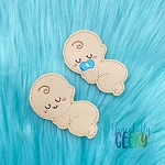 Sleepy Baby Feltie ITH Embroidery Design 4x4 hoop (and larger)