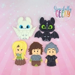 Dragon Trainers finger puppet set - Embroidery Design