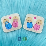 Twin Babies Feltie ITH Embroidery Design 4x4 hoop (and larger)