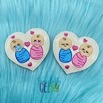 Twin Heart Babies Feltie ITH Embroidery Design 4x4 hoop (and larger)